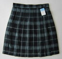 KURI-ORIスクールスカート48cm丈・51cm丈紺×グリーン×白クリオリチェックプリーツスカート