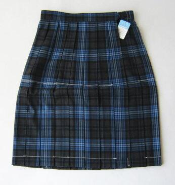KURI-ORI スクールスカート 54cm丈 グレー×ブルー クリオリ チェックプリーツスカート