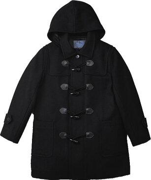 衿付きハーフダッフルコート 黒【男女兼用】スクールコート 学生服の上から着てももたつかない!通学にピッタリのダッフルコート