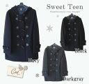 スクールダッフルコート 前ファスナー付き♪ (ネイビー ブラック ダークグレー) SweetTeen カンコー学生服