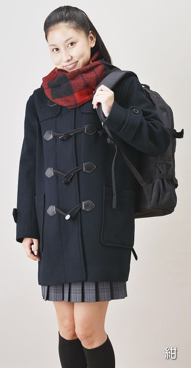 衿付きハーフダッフルコートグレー【男女兼用】スクールコート学生服の上