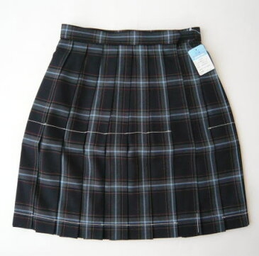 KURI-ORI スクールスカート 48cm丈 紺×グレー・水色クリオリ チェックプリーツスカート