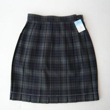 KURI-ORI スクールスカート 42cm丈 グレー×紺 クリオリ チェックプリーツスカート 制服スカート