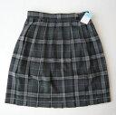 KURI-ORI夏スクールスカート48cm・51cm丈グレー×紺・白クリオリチェックプリーツスカート