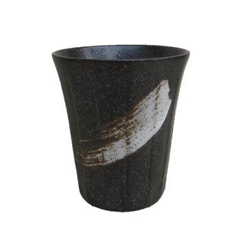 美濃焼 日本製 タンブラー カップ 磁器 グラスビール ビア ハイボール 酎ハイ 焼酎 冷酒 ウィスキー フリーカップ けずり型 長 湯呑 日本酒 黒刷毛目