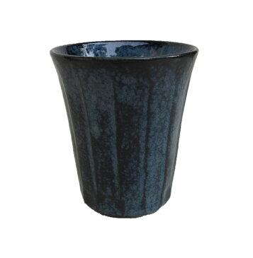 タンブラー カップ 磁器 グラス ビール ビア ハイボール 酎ハイ 焼酎 冷酒 ウィスキー フリーカップ けずり型 藍染め ルリ 瑠璃 ブルー 美濃焼 日本製 長 湯呑 日本酒