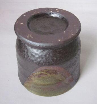陶器製 ゴブレット カップ 小型 織部 流し 黒結晶