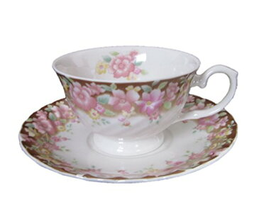 北欧 西洋 ティーカップ ソーサー セット おしゃれ 花柄 2種 ピンク イエロー フラワー 日本製