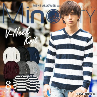 Mens V neck sweater cable knit cable knit acrylic nit so long-sleeved tops inner winter minority minority University students fashion