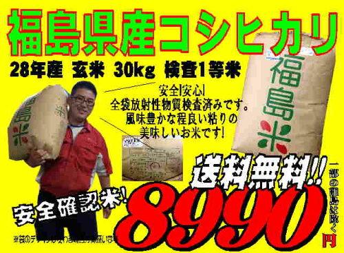 福島県産 コシヒカリ 玄米 30kg 検査1等米 平成28年産 お米 精米無料 送料無料【sai...