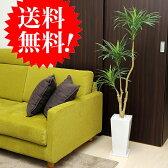 ドラセナコンシンネH130 四角白鉢皿付 k-7 幸福の木 造花 観葉植物 大型 インテリア フェイクグリーン 送料無料