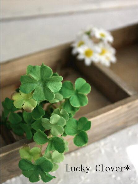 【店内全品 ポイント10倍】ラッキークローバーピック 2P 造花 フェイクグリーン インテリア 人工観葉植物