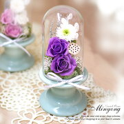 メモリードーム仏花高級感あふれるガラスドームプリザーブドフラワーお盆お供え花