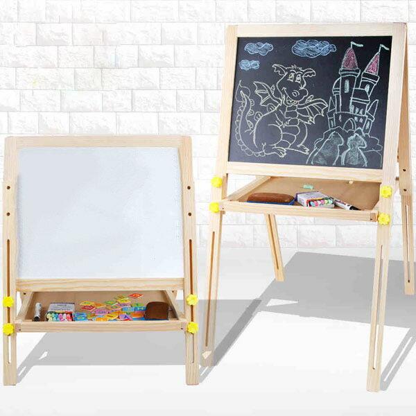 子供玩具/黒板/ホワイトボードおもちゃマグネットイーゼル付き折りたたみ/高さ調節/イーゼル木製/ホワイトボード脚付き/黒板子供