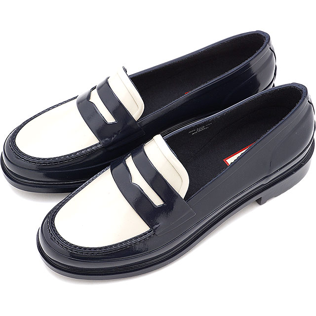 レディース靴, ローファー 12 HUNTER W ORIGINAL PENNY LOAFER WFF1006RGL-NOW FW20 NAVYOFF WHITE