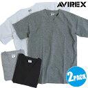 AVIREX アヴィレックス 2パックTシャツ メンズ DAILY 2-PACK S/S V-NECK TEEデイリー 2P Vネック Tシャツ アビレックス [6183381 SS18]【メール便可】