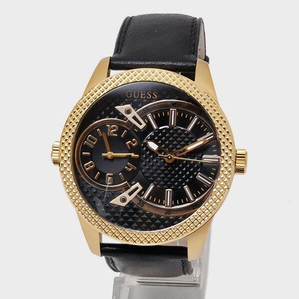 ゲス GUESS クォーツ 腕時計 ウォッチ レザーベルト ゴールド×ブラック [メンズ][レディース] W0788G3