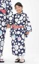 【子供浴衣と帯のセット】日本製 子供用 旅館浴衣 朝顔と水玉...
