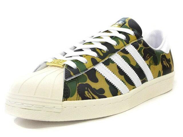 メンズ靴, スニーカー adidas SUPERSTAR 80S BAPE A BATHING APE? GREEN CAMOWHITEOFF WHITE (GZ8981)