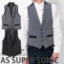 ベスト メンズ ジレ サテンカラー TR素材ピークドラペル メンズファッション スーツ地 日本製 AS SUPER SONIC