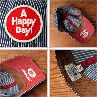 UES(ウエス)完成度の高いデニムヒッコリーCAPキャップ帽子AHAPPYDAYレッドワッペンアメカジmadeinJAPAN日本製【あす楽】