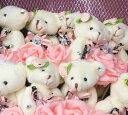 可愛いクマさんのぬいぐるみベアブーケ くま束 【縦型】ブライダル、バレンタイン、ホワイトデーにも♪