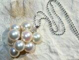 真珠9粒つきxダイヤWGペンダントネックレス