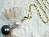 タヒチ黒真珠xダイヤ18金ペンダントネックレス