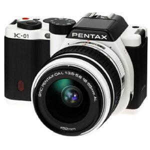 3年延長保証付[PENTAX]K-01 [ズームレンズキット ホワイト/ブラック smc PENTAX-DA L18-55mm F3...