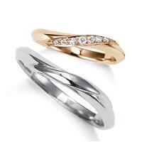 2本でこの価格期間限定特別価格結婚指輪マリッジリングプラチナ900&K18ピンクゴールド大人可愛いエレガントダイヤモンドラインペアリング1年以内サイズ直し1回無料対応付送料無料