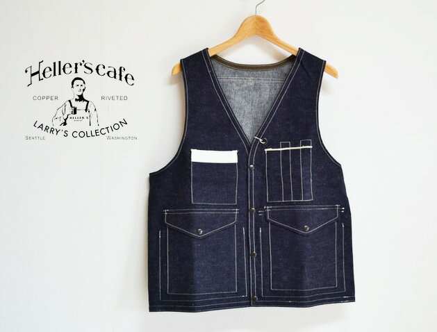 トップス, ベスト・ジレ HELLERS CAFE 1940s Bag-pocket Hunting Vest INDIGO DENIM
