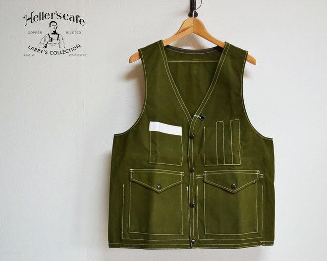 トップス, ベスト・ジレ HELLERS CAFE 1940s Bag-pocket Hunting Vest GREEN(OR)