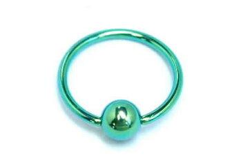 [18G 高品質 チタングレード23] グリーンチタンキャプティブビーズリング 18ゲージ 細い 純チタン製ハイポリッシュ ボディピアス メンズ レディース ファーストピアス セカンド ニッケルフリー 軟骨 へそピアス ヘリックス トラガス リング型 緑色 内径 大きい 小さい