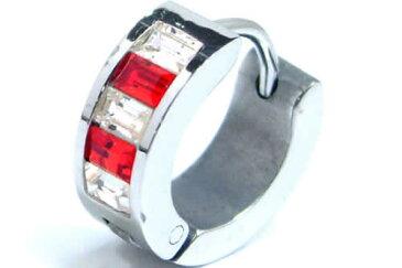 レッドクリスフープピアス 1個販売 18G 18ゲージ 赤色 レッド 銀色 シルバー クリスタル ジルコニア 耳 軟骨 リングピアス サージカルステンレス メンズ レディース ワンタッチリング ステンレスピアス