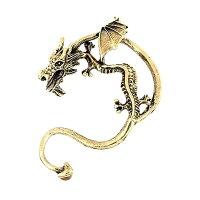 ドラゴンイヤーフックピアスイヤーラップピアスイヤーカフピアスイヤーフックおもしろ面白いユニーク個性的オモシロコスプレハロウィンアニマル動物シルバー銀色金色ゴールドブラック黒色龍竜立体3Dメンズレディース