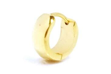 小さい金色のゴールドスカーフリングピアス(4mmx9.5mm) 1個販売 スモール プレーン シンプル 甲丸リング 18G 18ゲージ 耳 軟骨 リングピアス サージカルステンレス メンズ レディース ステンレスピアス ワンタッチリング ゴールド 片耳用 低アレルギー 小さめ