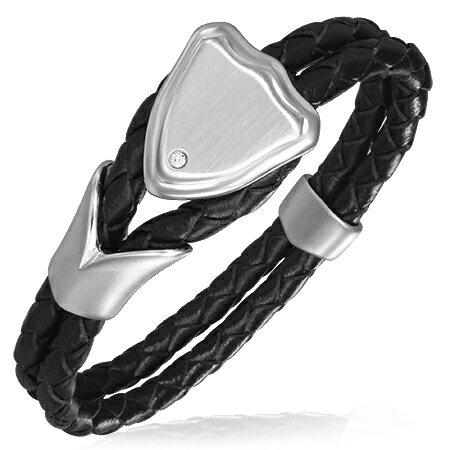 ブレイドレザーステンレスブレス(シールド) 黒 サージカルステンレス316L ラップブレスレット 1個で2周巻き 革のブレスレット 皮のアクセサリー 手作り メンズ レディース プレゼント 手首 レザーアクセサリー