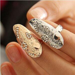 フォークリング/チップリング/ミディリング/爪の指輪/ネイルアート/ネイルリング/爪を保護/レデ...