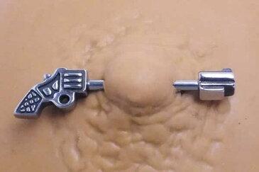 [14G おもしろ ボディピアス] 銃 ストレートバーベル 14ゲージ サージカルステンレス316L メンズ レディース ボディーピアス 内径 長い 短い ネジパーツ 面白い ユニーク ニップル 乳首 ヘリックス 軟骨 アンテナ ガン 拳銃 ピストル 鉄砲 おもちゃ