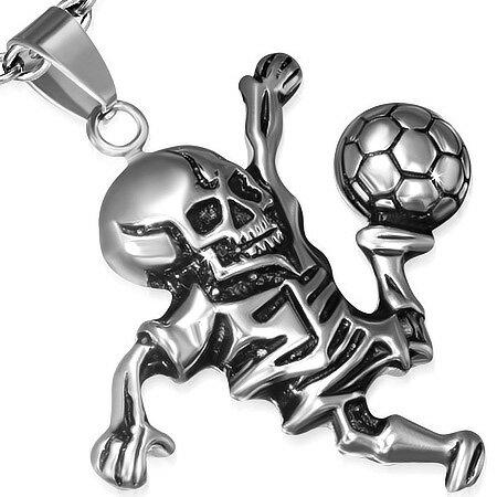 スカルサッカートップ サッカー選手 おもしろ ガイコツ ドクロ 面白 サージカルステンレス ネックレス パーツ メンズ レディース トップ ペア アクセサリー チョーカー