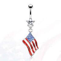 国旗へそピアス(アメリカ)