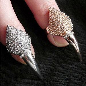 チップリング/爪の指輪/ネイルアート/ネイルリング/爪を保護/レディース/ファランジリング/クロ...