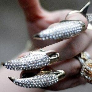 チップリング/ビジュー/スター/爪の指輪/ネイルアート/ネイルリング/爪を保護/レディース/ミデ...