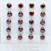 キュービックジルコニアピアス(CZレッド):6mmジュエル/1個販売