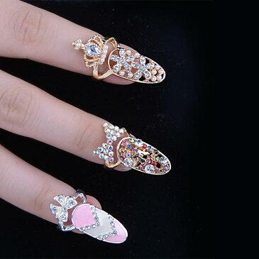 プリンセスネイルリング/1個販売 チップリング ネイル 指先の指輪 爪の指輪 ネイルリング ファランジリング 指先の指輪 ファランジリング ミディリング 関節の指輪 フォークリング レディース クリスタル ラインストーン キラキラ ゴールド シルバー プレゼント ピンク