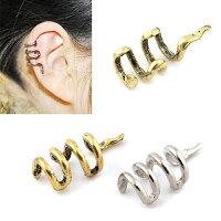 蛇イヤーカフ1個販売メンズレディースはさむ挟む軟骨イヤリングイヤークリップ耳フェイクピアスイヤカフフェイクピアスゴールドスネークスネイクへびゴールドシルバーノンホールピアスノンホールイヤリングおもしろ面白いユニーク銀色金色面白