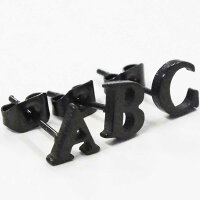 ブラックアルファベットステンレスピアス(NからZ)/1個販売