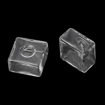 20mmガラススクエアボトルパーツ/1個販売 中にビーズやジュエルを入れて バックキャッチ用パーツ ジャケットピアス用パーツ ダブルスタッド用 後ろキャッチ用中空 ステンレスピアスのポスト付けてガラスピアスにも 小瓶 ガラス瓶 フリマ 手作り 材料 ピアス作り ハンドメイド