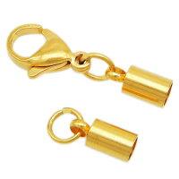 ゴールド5.0mmコード用ステンレスエンドパーツ2個カニカンステンレスパーツ1個/1セット販売