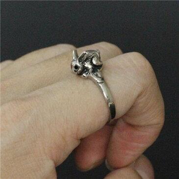 3Dラビットステンレスリング(RMT092)サイズ/20号/22号 細い スリムリング シンプルリング うさぎ 兔 ウサギ バニー アニマル 動物 指輪 サージカルステンレス316L メンズ レディース ペアリング プレゼント ギフト 結婚 婚約 記念日 誕生日 ピンキーリング 立体